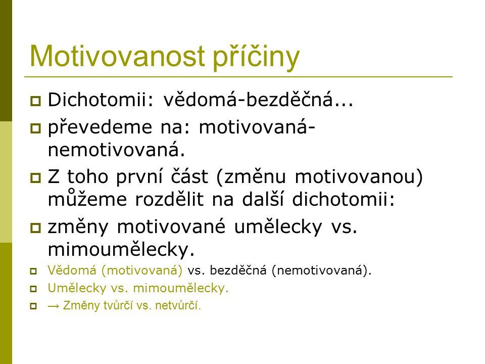 Motivovanost příčiny Dichotomii: vědomá-bezděčná...
