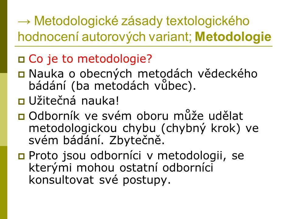 → Metodologické zásady textologického hodnocení autorových variant; Metodologie