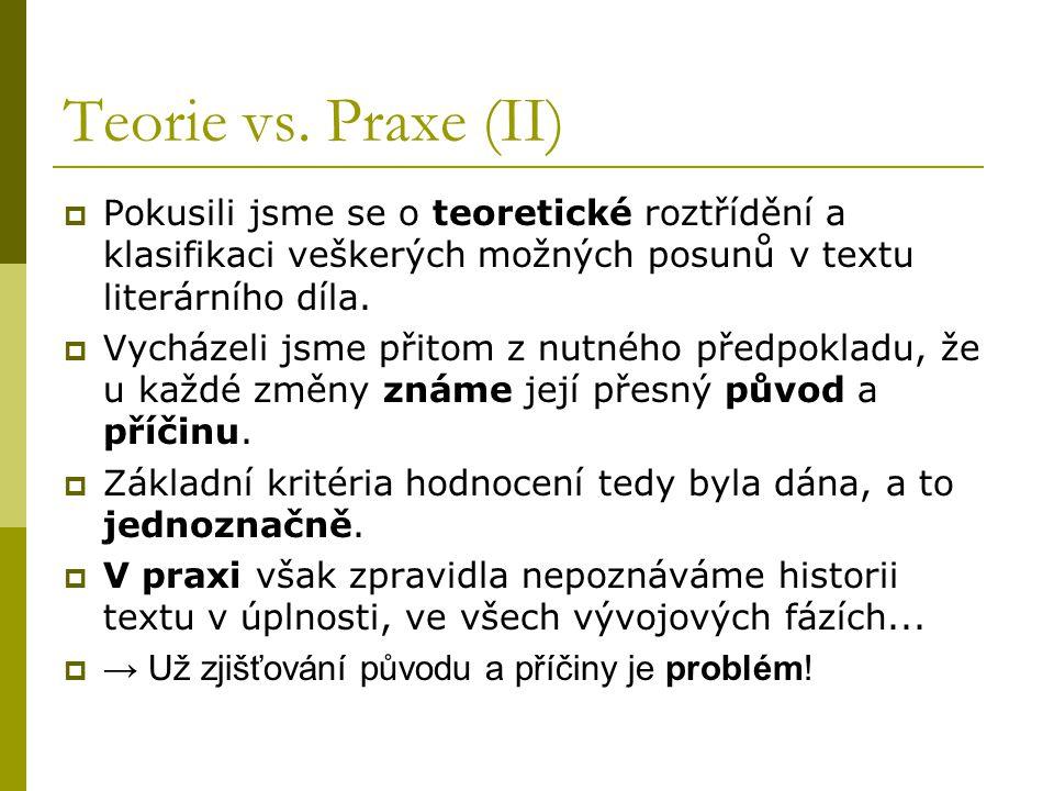 Teorie vs. Praxe (II) Pokusili jsme se o teoretické roztřídění a klasifikaci veškerých možných posunů v textu literárního díla.