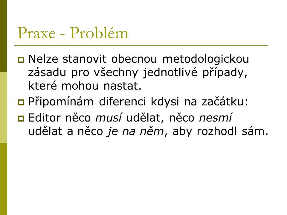 Praxe - Problém Nelze stanovit obecnou metodologickou zásadu pro všechny jednotlivé případy, které mohou nastat.