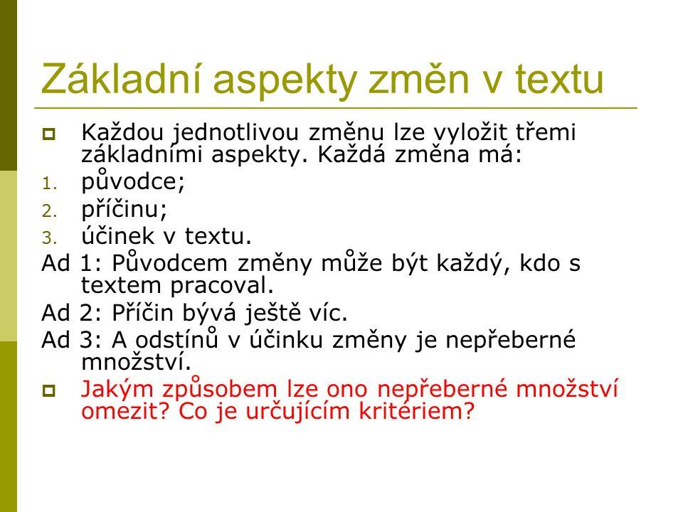 Základní aspekty změn v textu