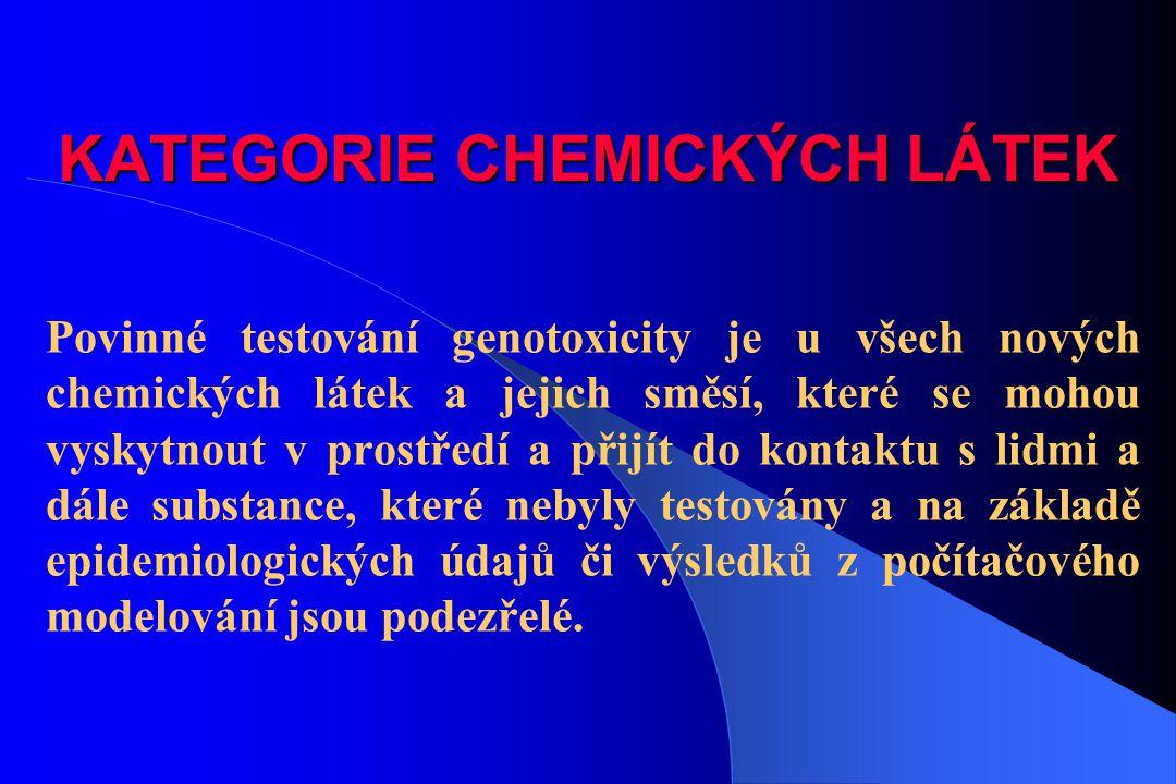 KATEGORIE CHEMICKÝCH LÁTEK