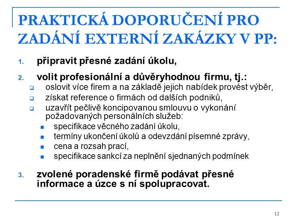 PRAKTICKÁ DOPORUČENÍ PRO ZADÁNÍ EXTERNÍ ZAKÁZKY V PP: