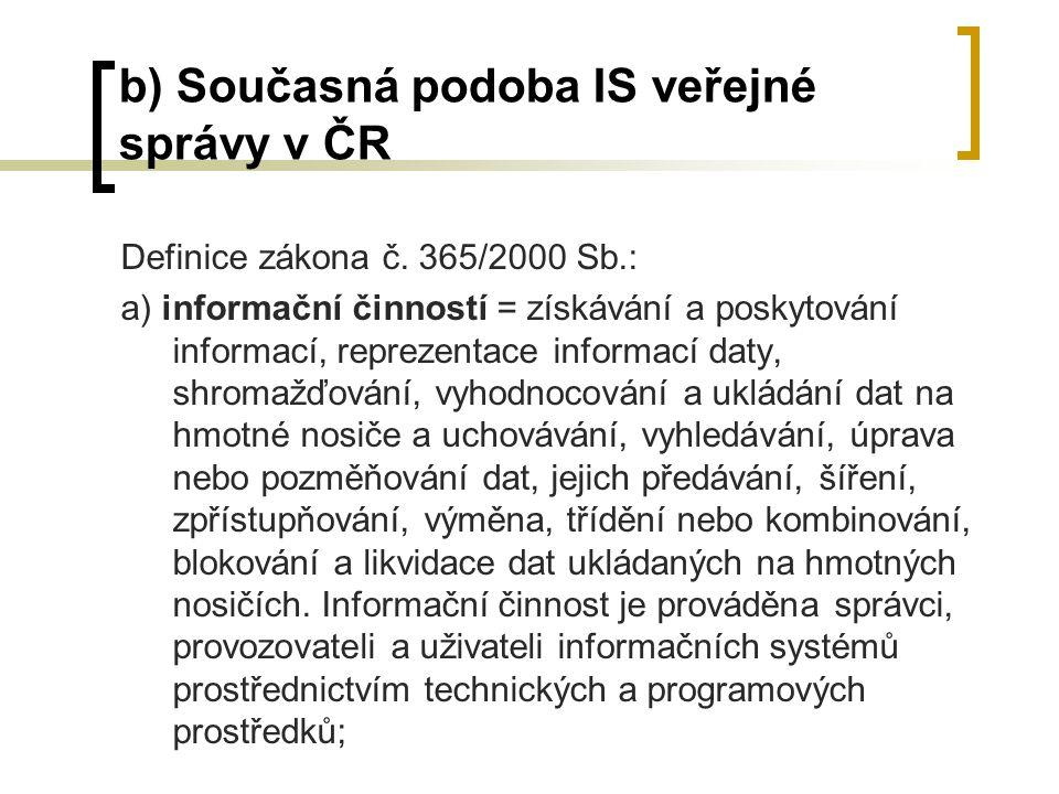 b) Současná podoba IS veřejné správy v ČR