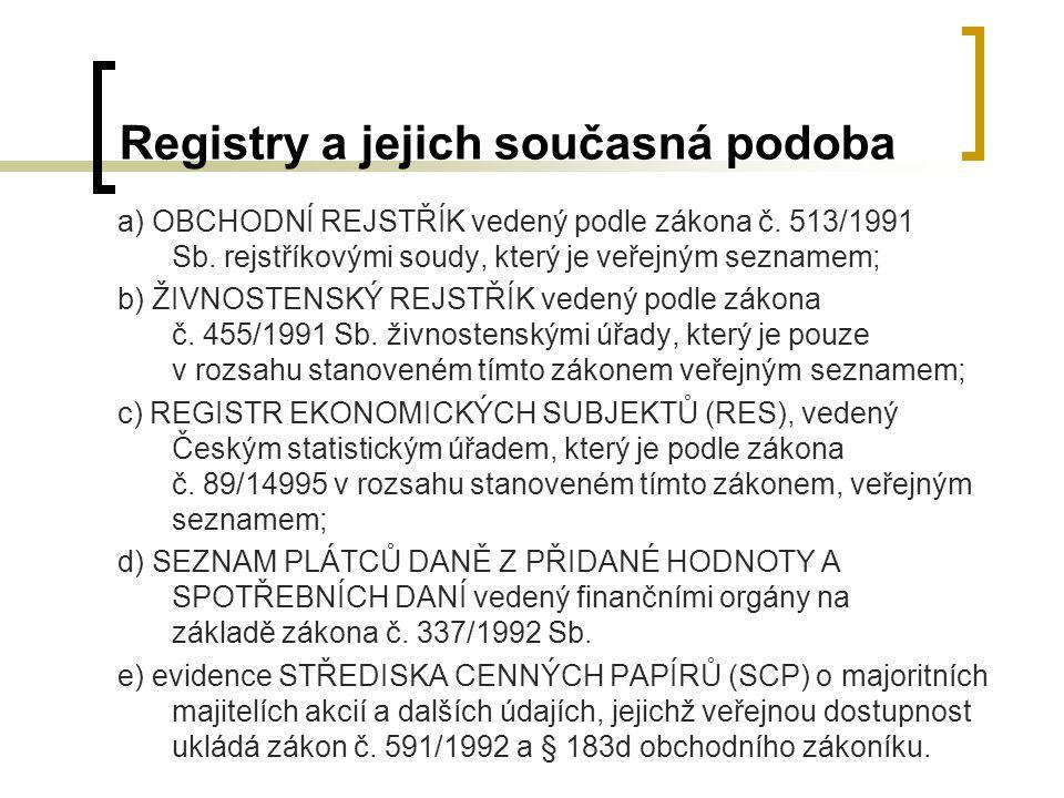 Registry a jejich současná podoba
