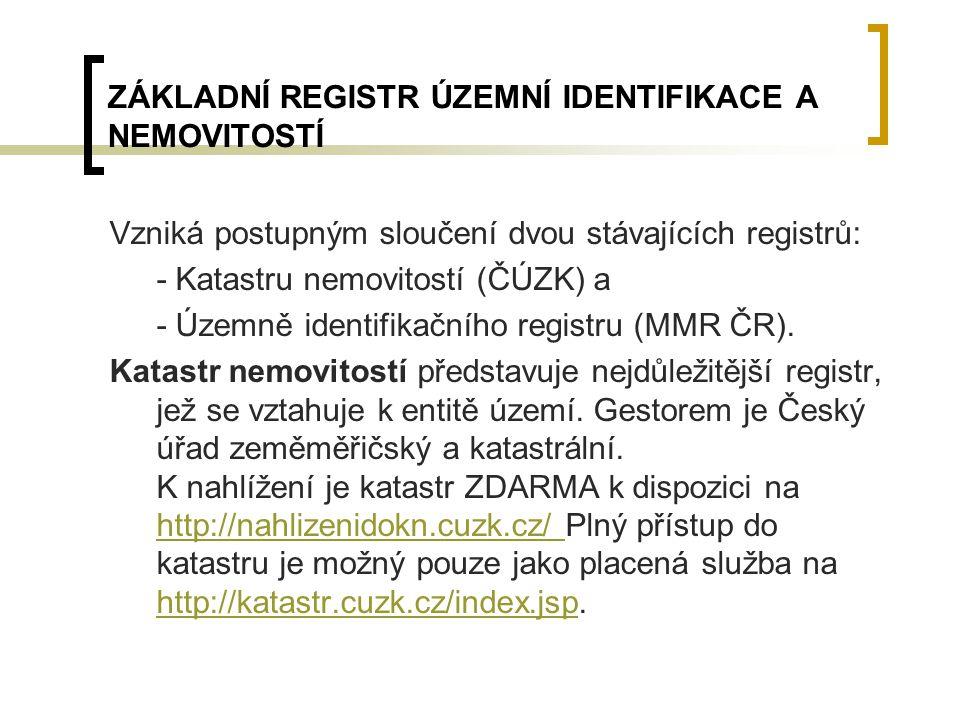 ZÁKLADNÍ REGISTR ÚZEMNÍ IDENTIFIKACE A NEMOVITOSTÍ