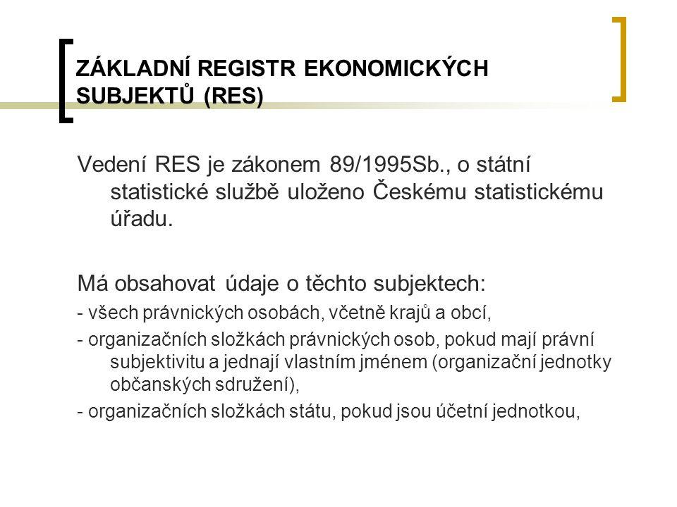 ZÁKLADNÍ REGISTR EKONOMICKÝCH SUBJEKTŮ (RES)