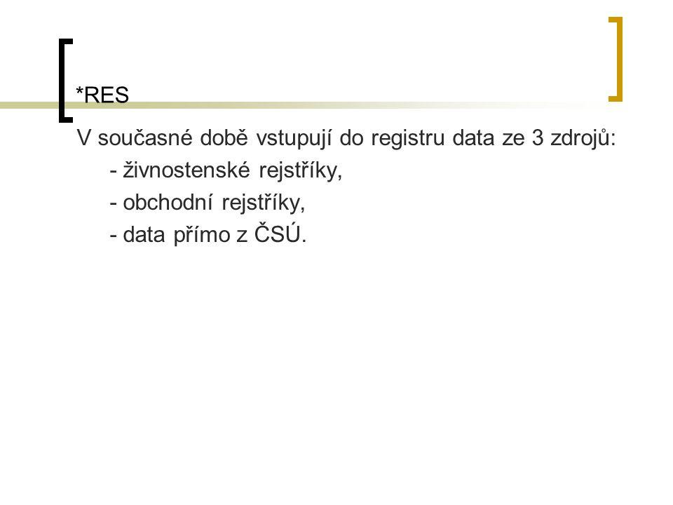 *RES V současné době vstupují do registru data ze 3 zdrojů: - živnostenské rejstříky, - obchodní rejstříky,