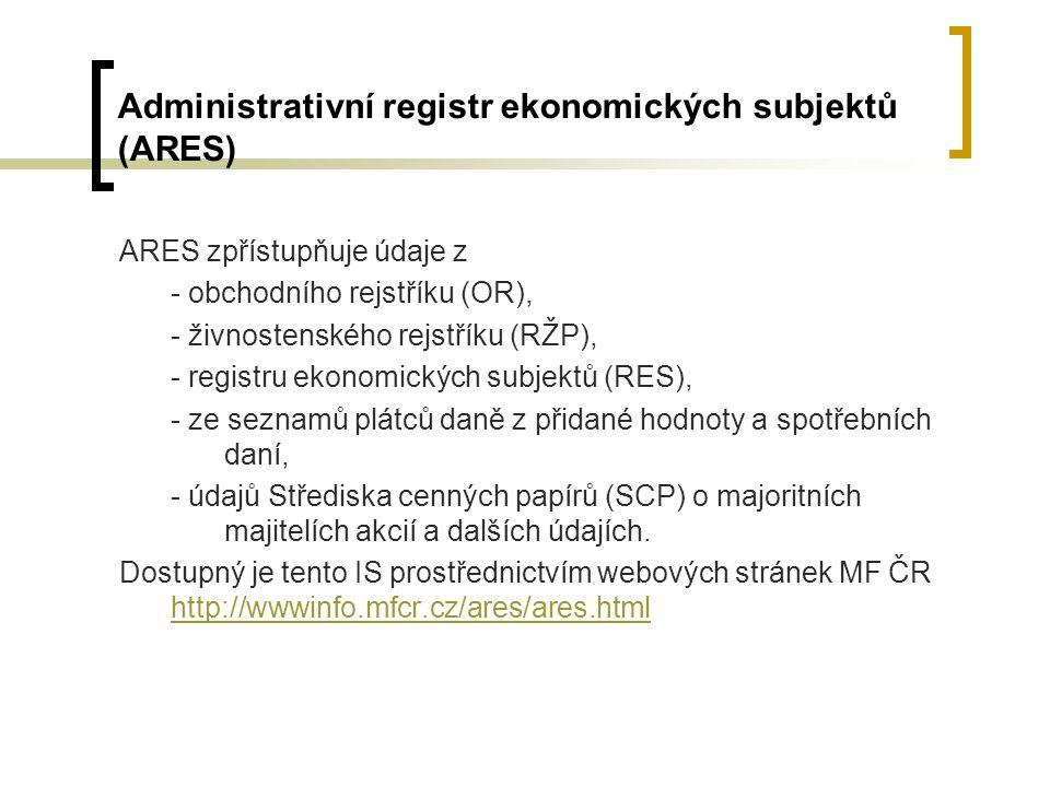Administrativní registr ekonomických subjektů (ARES)