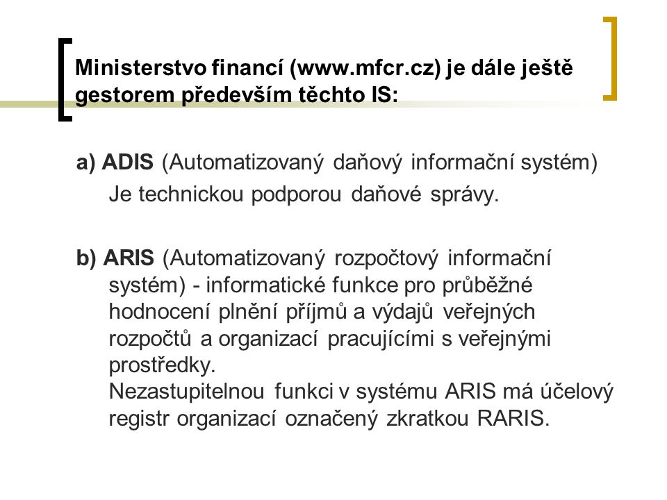 Ministerstvo financí (www. mfcr