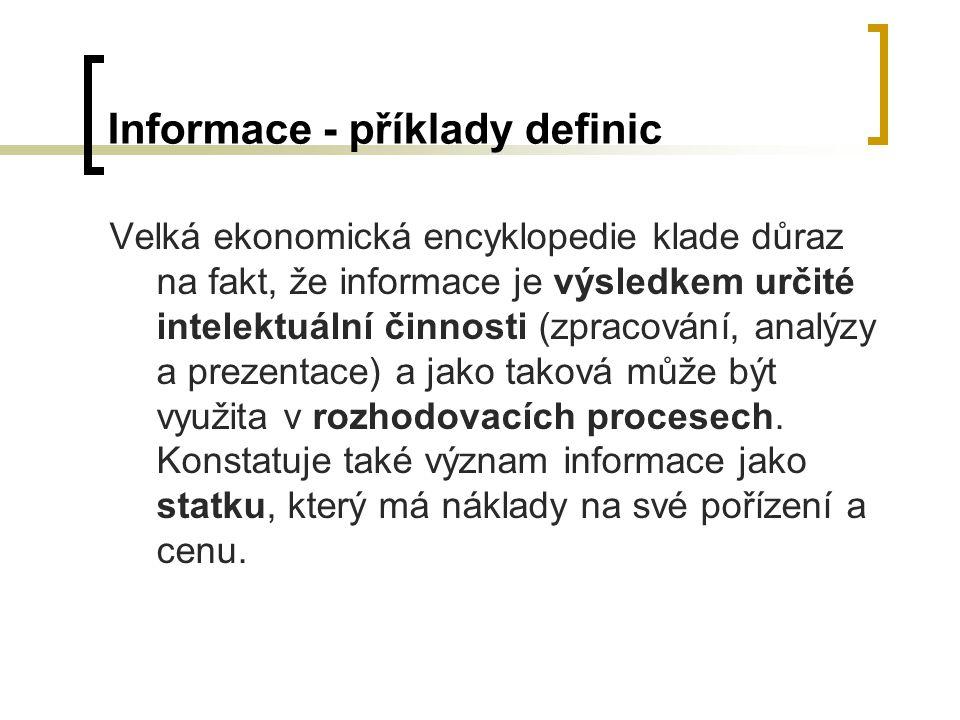 Informace - příklady definic