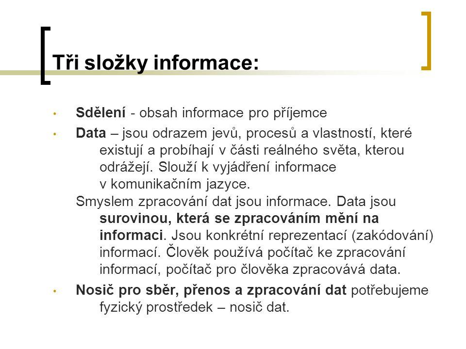 Tři složky informace: Sdělení - obsah informace pro příjemce