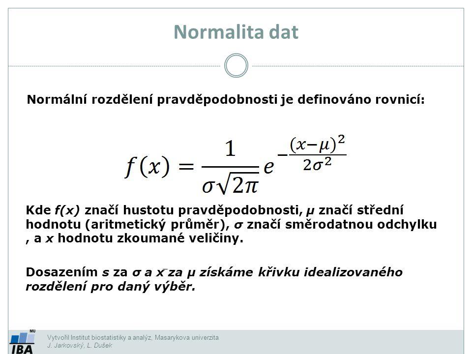 Normalita dat Normální rozdělení pravděpodobnosti je definováno rovnicí: