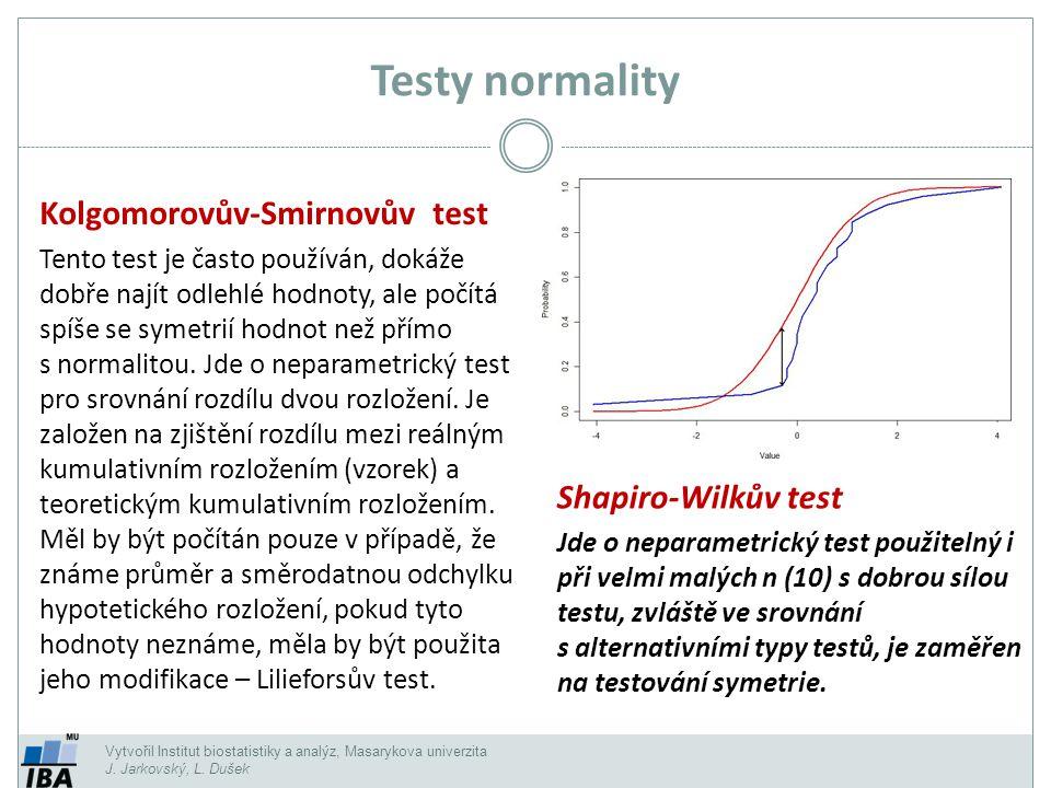 Testy normality Kolgomorovův-Smirnovův test Shapiro-Wilkův test