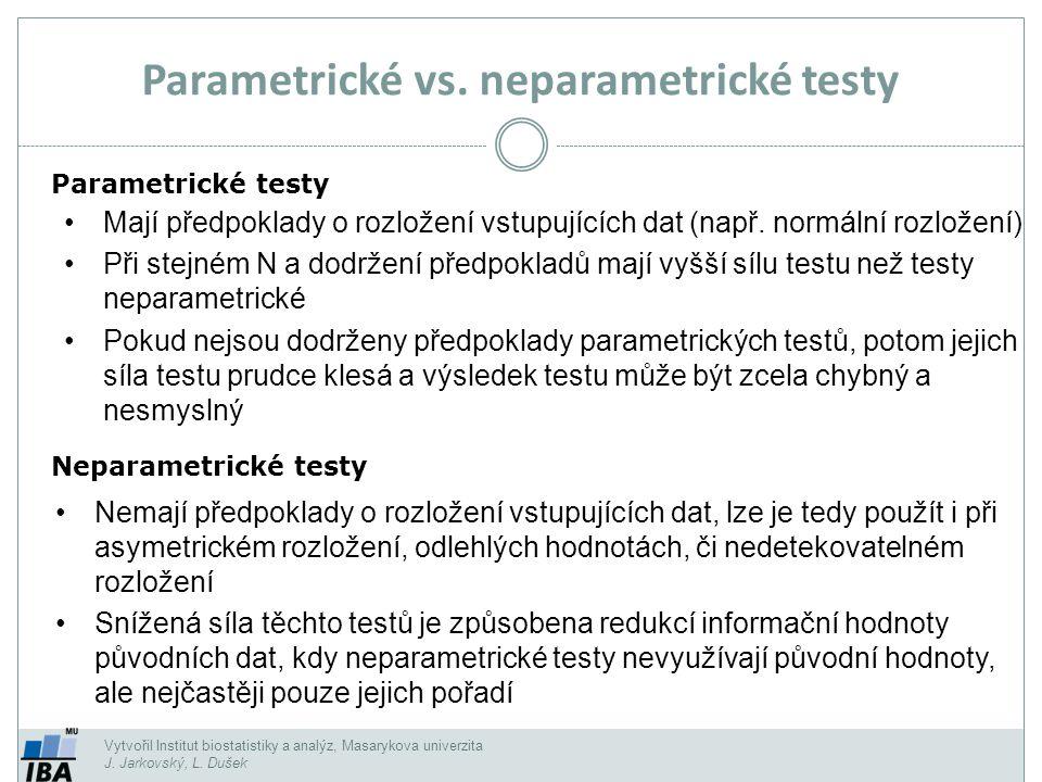 Parametrické vs. neparametrické testy