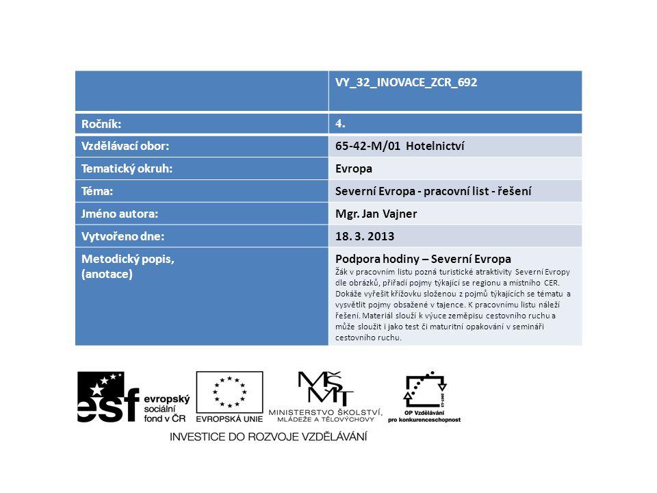 Severní Evropa - pracovní list - řešení Jméno autora: Mgr. Jan Vajner