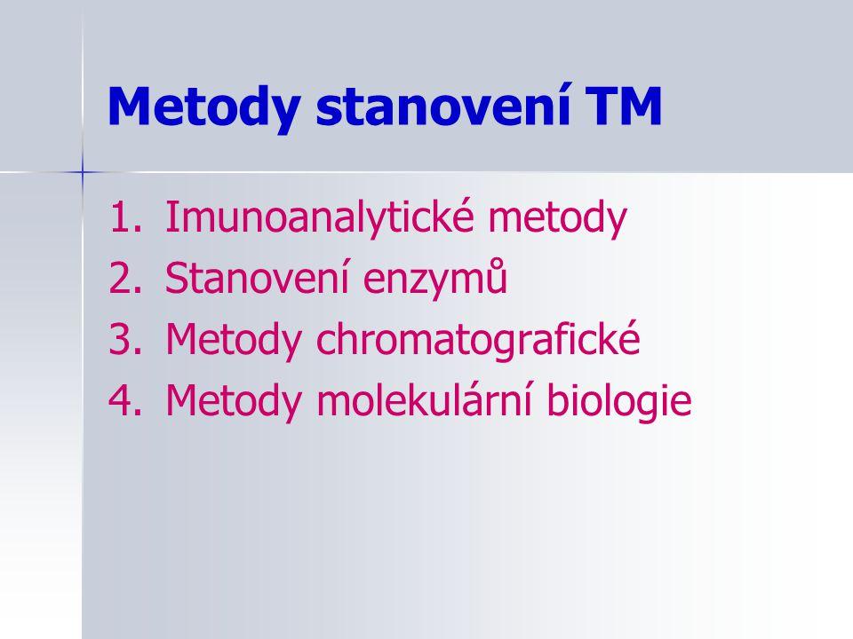 Metody stanovení TM 1. Imunoanalytické metody 2. Stanovení enzymů