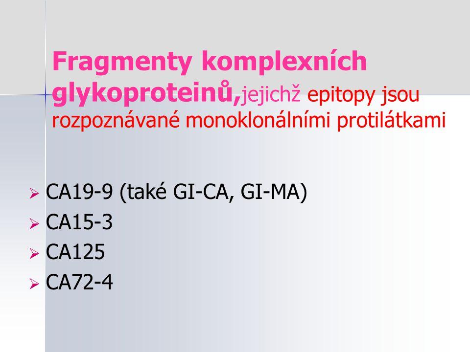 Fragmenty komplexních glykoproteinů,jejichž epitopy jsou rozpoznávané monoklonálními protilátkami