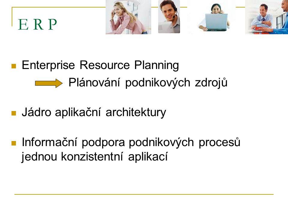 E R P Enterprise Resource Planning Plánování podnikových zdrojů