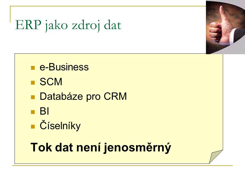 ERP jako zdroj dat Tok dat není jenosměrný e-Business SCM