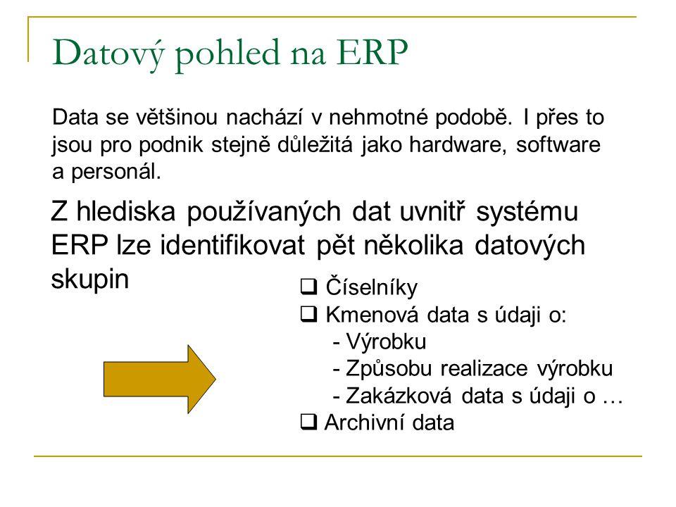 Datový pohled na ERP Data se většinou nachází v nehmotné podobě. I přes to jsou pro podnik stejně důležitá jako hardware, software a personál.