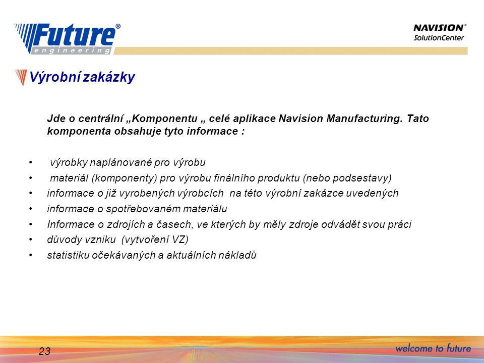 """Výrobní zakázky Jde o centrální """"Komponentu """" celé aplikace Navision Manufacturing. Tato komponenta obsahuje tyto informace :"""