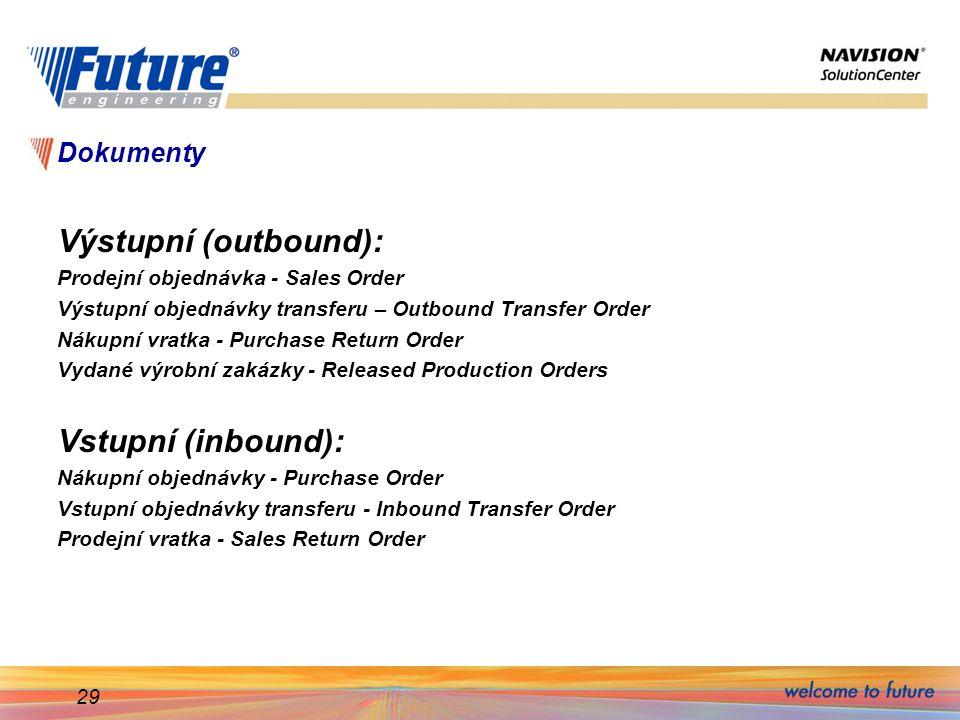 Výstupní (outbound): Vstupní (inbound): Dokumenty