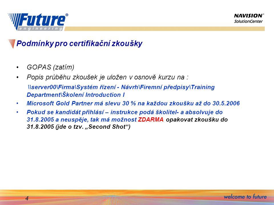 Podmínky pro certifikační zkoušky