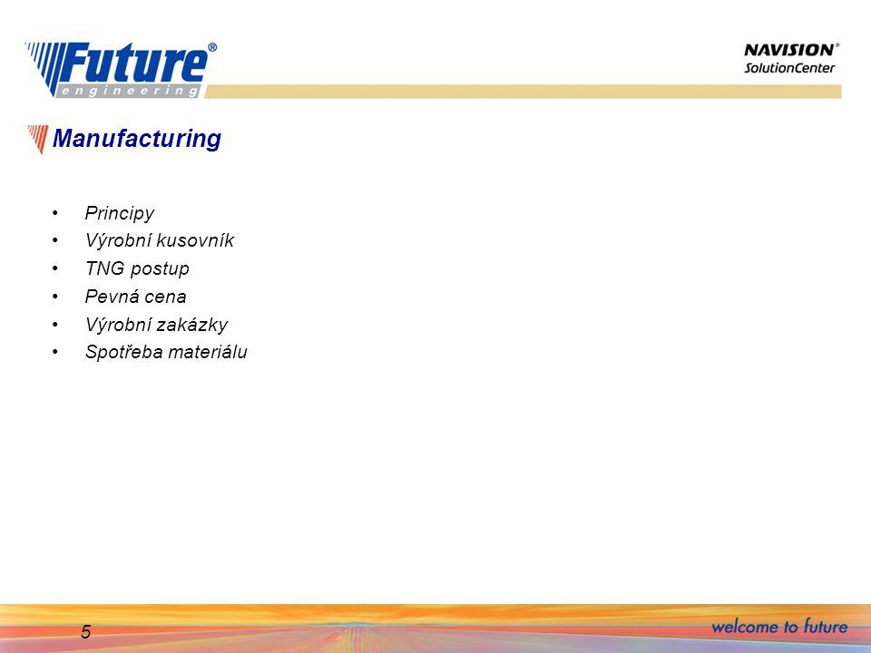Manufacturing Principy Výrobní kusovník TNG postup Pevná cena
