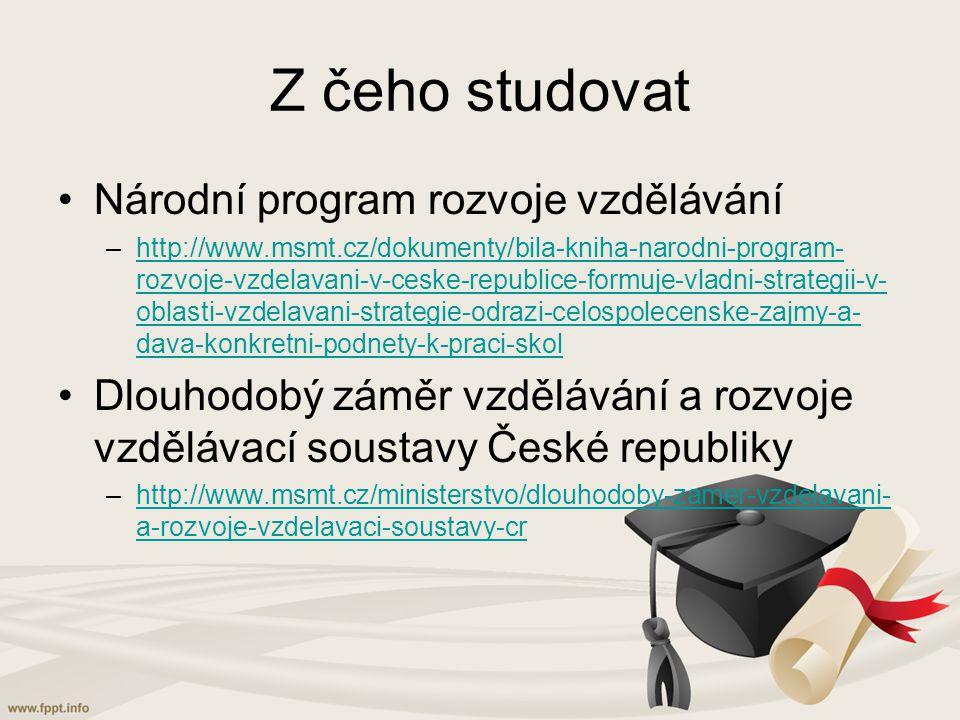 Z čeho studovat Národní program rozvoje vzdělávání