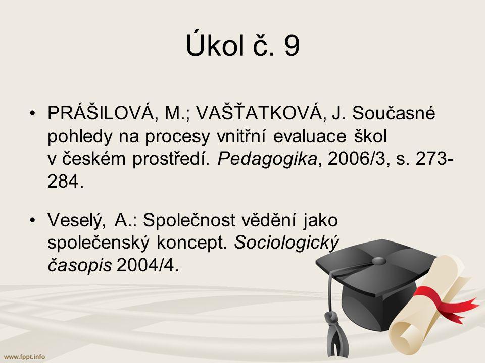 Úkol č. 9 PRÁŠILOVÁ, M.; VAŠŤATKOVÁ, J. Současné pohledy na procesy vnitřní evaluace škol v českém prostředí. Pedagogika, 2006/3, s. 273-284.