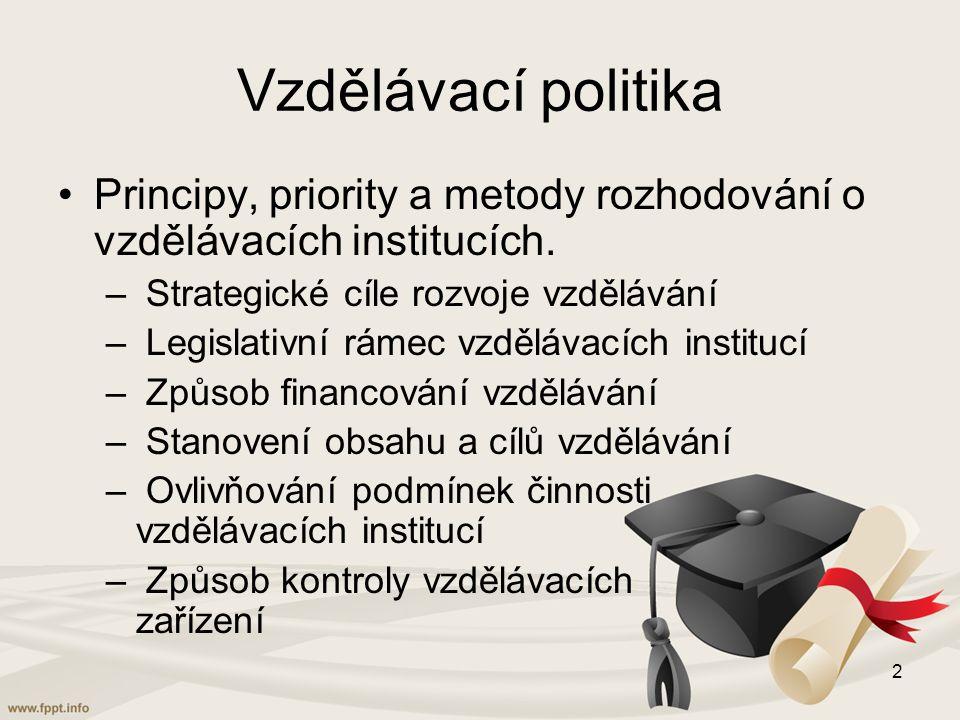 Vzdělávací politika Principy, priority a metody rozhodování o vzdělávacích institucích. Strategické cíle rozvoje vzdělávání.