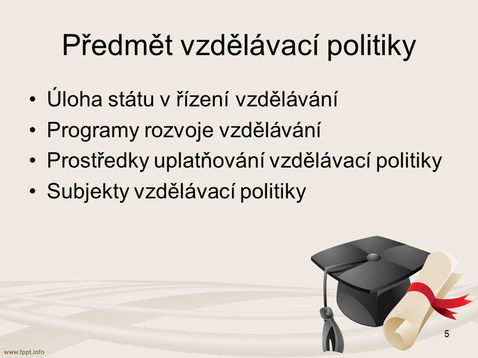 Předmět vzdělávací politiky