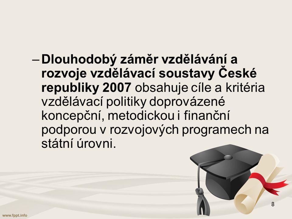 Dlouhodobý záměr vzdělávání a rozvoje vzdělávací soustavy České republiky 2007 obsahuje cíle a kritéria vzdělávací politiky doprovázené koncepční, metodickou i finanční podporou v rozvojových programech na státní úrovni.