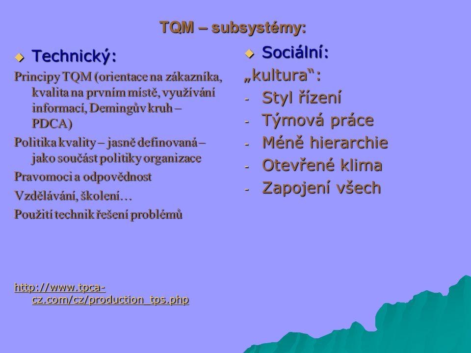 """TQM – subsystémy: Sociální: Technický: """"kultura : Styl řízení"""