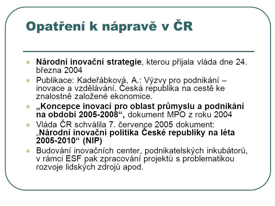 Opatření k nápravě v ČR Národní inovační strategie, kterou přijala vláda dne 24. března 2004.