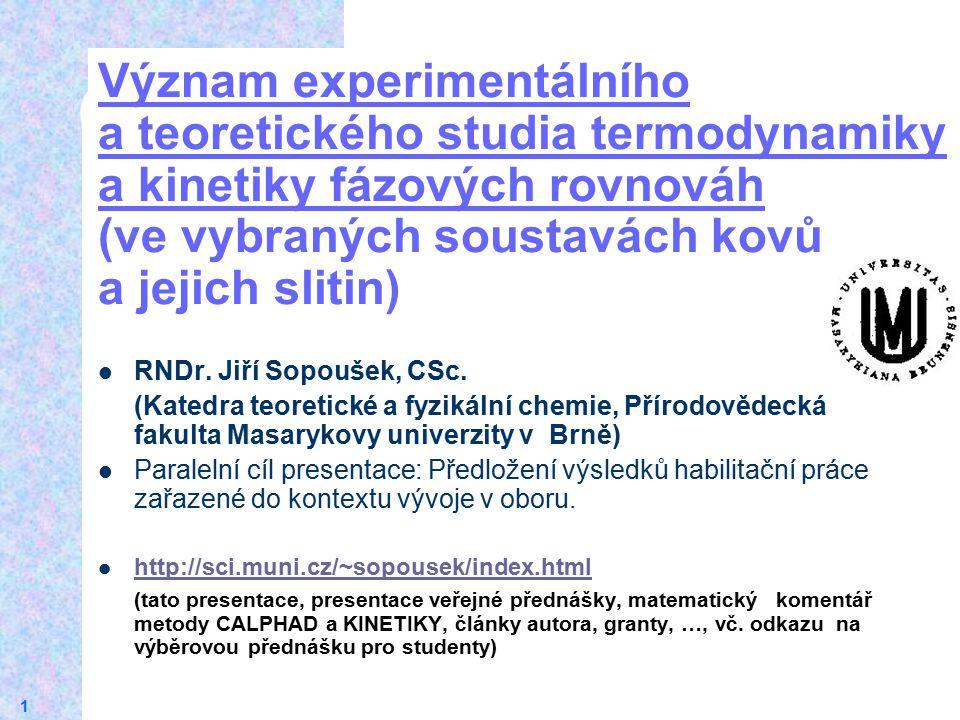 18.4.2017 Význam experimentálního a teoretického studia termodynamiky a kinetiky fázových rovnováh (ve vybraných soustavách kovů a jejich slitin)
