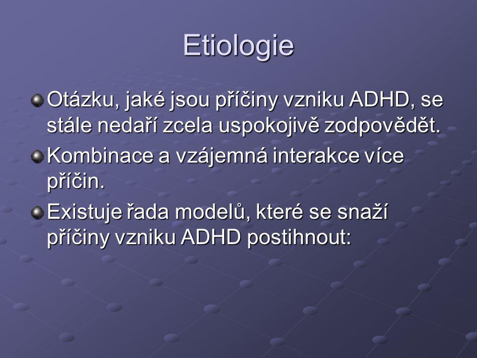 Etiologie Otázku, jaké jsou příčiny vzniku ADHD, se stále nedaří zcela uspokojivě zodpovědět. Kombinace a vzájemná interakce více příčin.