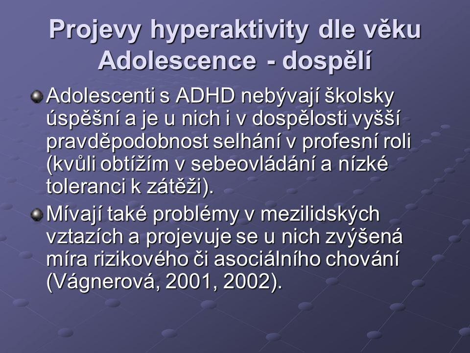 Projevy hyperaktivity dle věku Adolescence - dospělí