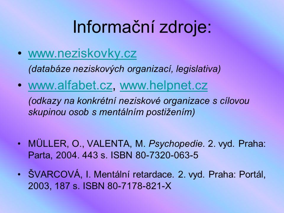 Informační zdroje: www.neziskovky.cz www.alfabet.cz, www.helpnet.cz