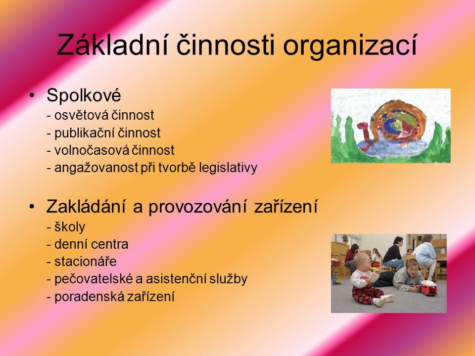 Základní činnosti organizací