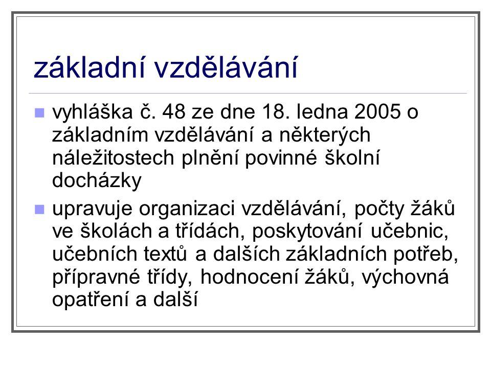 základní vzdělávání vyhláška č. 48 ze dne 18. ledna 2005 o základním vzdělávání a některých náležitostech plnění povinné školní docházky.