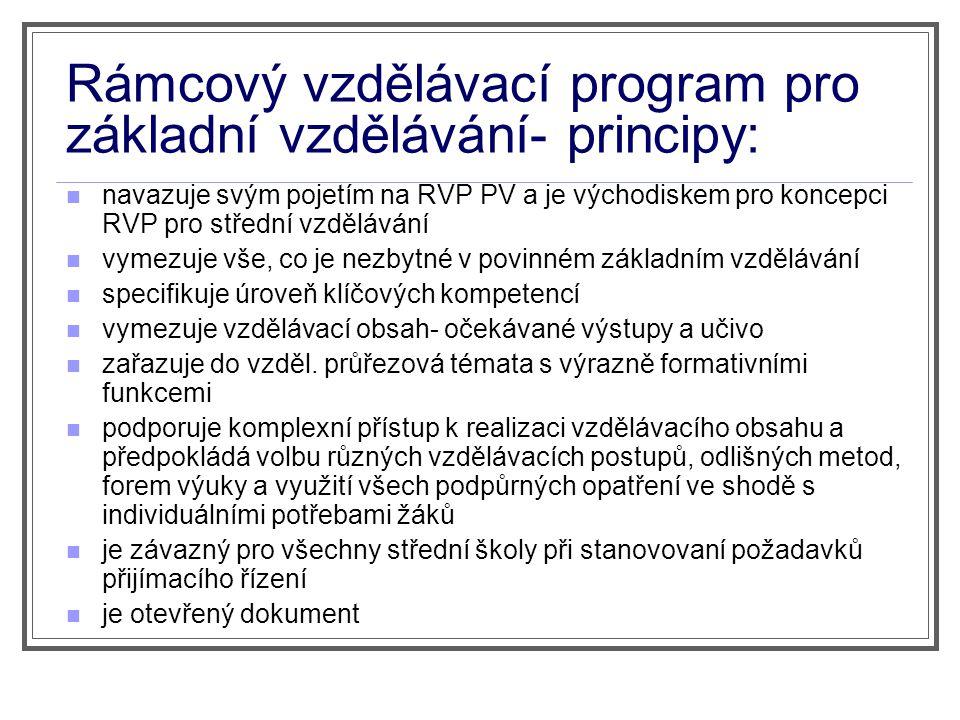 Rámcový vzdělávací program pro základní vzdělávání- principy: