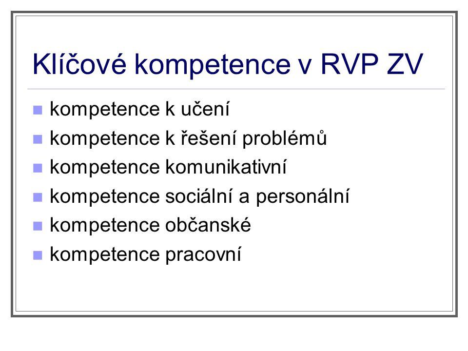 Klíčové kompetence v RVP ZV
