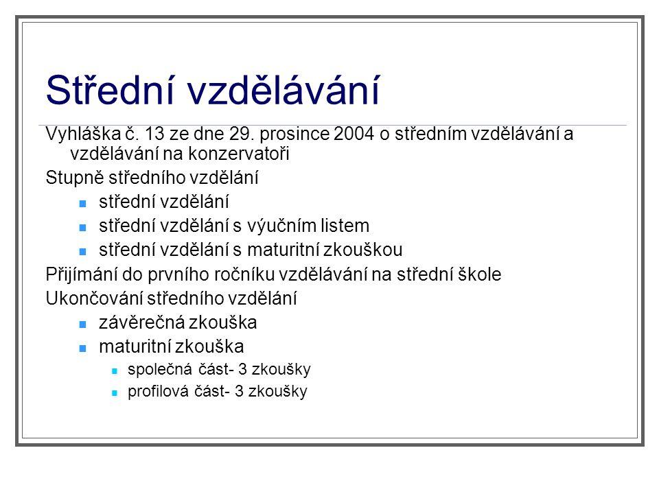 Střední vzdělávání Vyhláška č. 13 ze dne 29. prosince 2004 o středním vzdělávání a vzdělávání na konzervatoři.