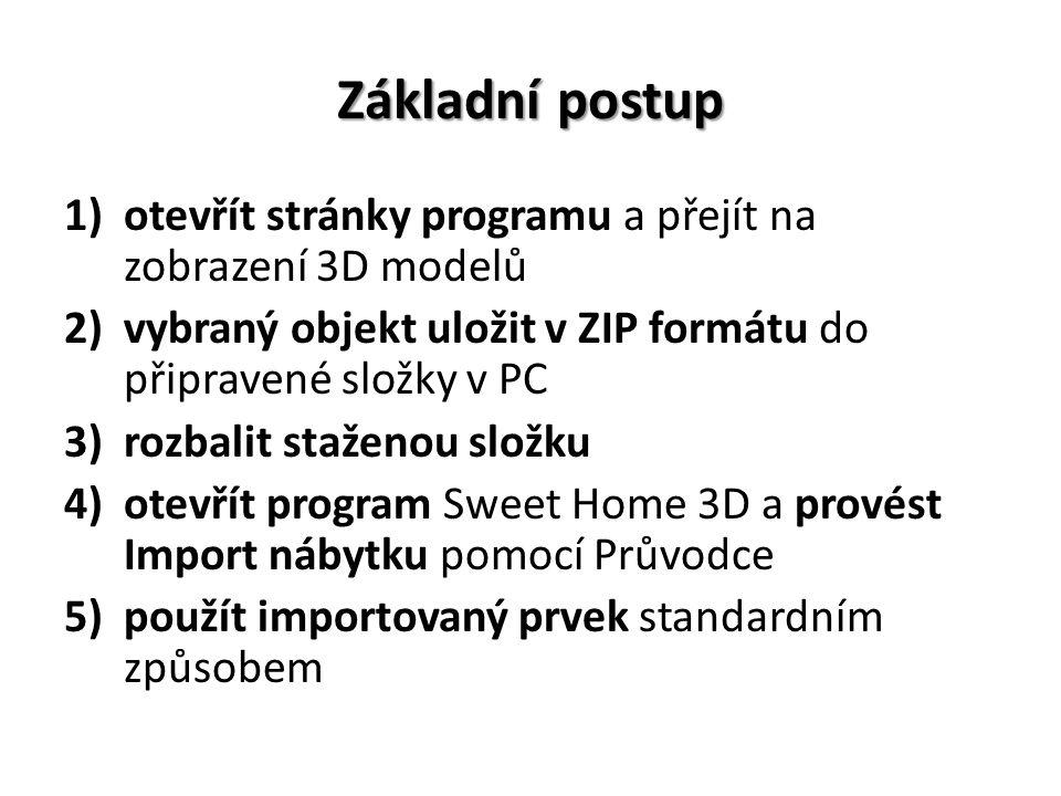 Základní postup otevřít stránky programu a přejít na zobrazení 3D modelů. vybraný objekt uložit v ZIP formátu do připravené složky v PC.