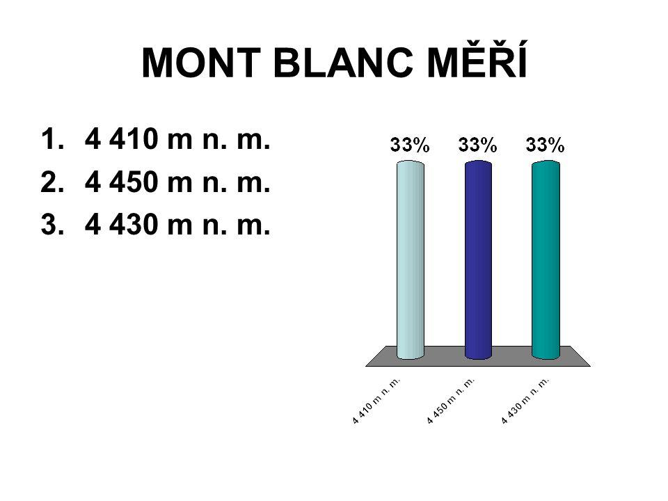 MONT BLANC MĚŘÍ 4 410 m n. m. 4 450 m n. m. 4 430 m n. m.