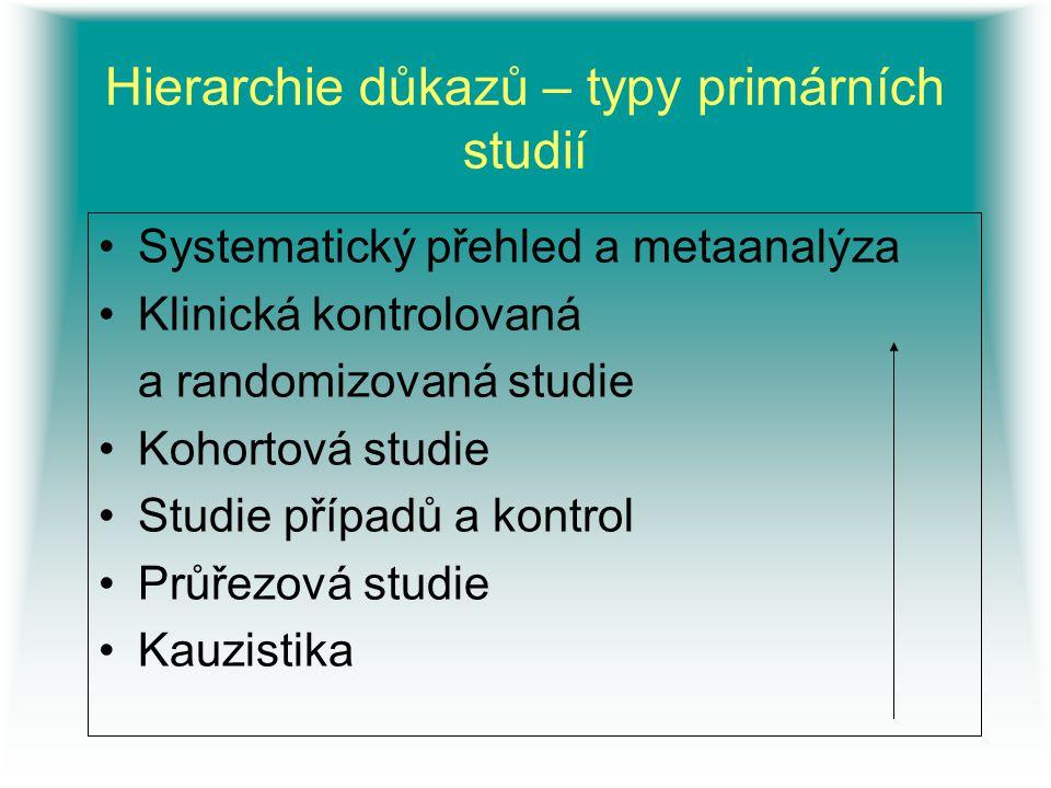 Hierarchie důkazů – typy primárních studií