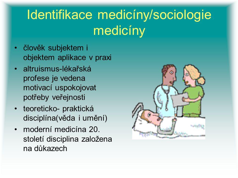 Identifikace medicíny/sociologie medicíny