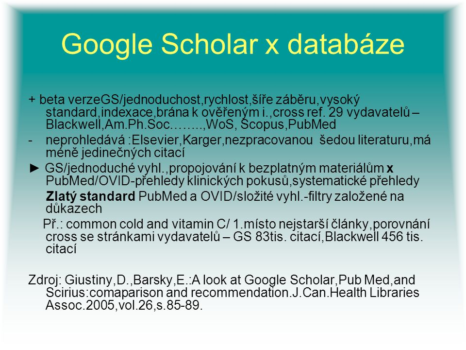 Google Scholar x databáze